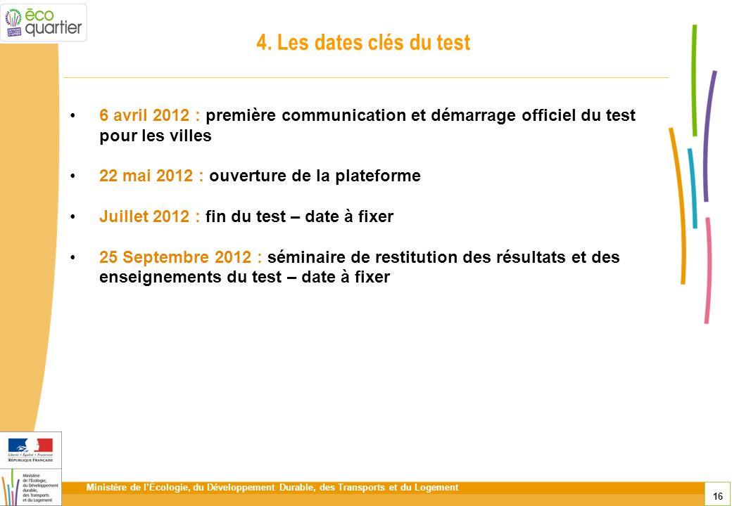 Ministère de lÉcologie, du Développement Durable, des Transports et du Logement 16 4. Les dates clés du test 6 avril 2012 : première communication et