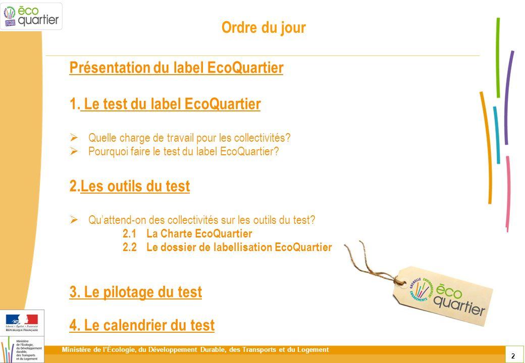 Ministère de lÉcologie, du Développement Durable, des Transports et du Logement 2 Ordre du jour Présentation du label EcoQuartier 1. Le test du label