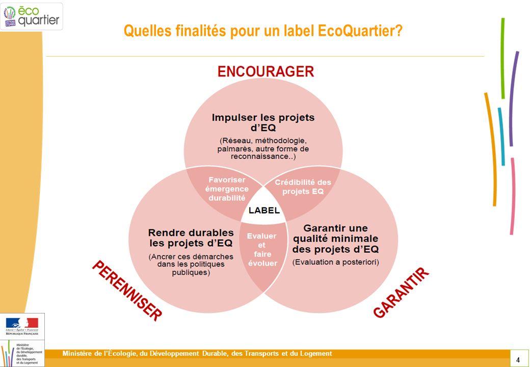 Ministère de lÉcologie, du Développement Durable, des Transports et du Logement 4 Quelles finalités pour un label EcoQuartier?