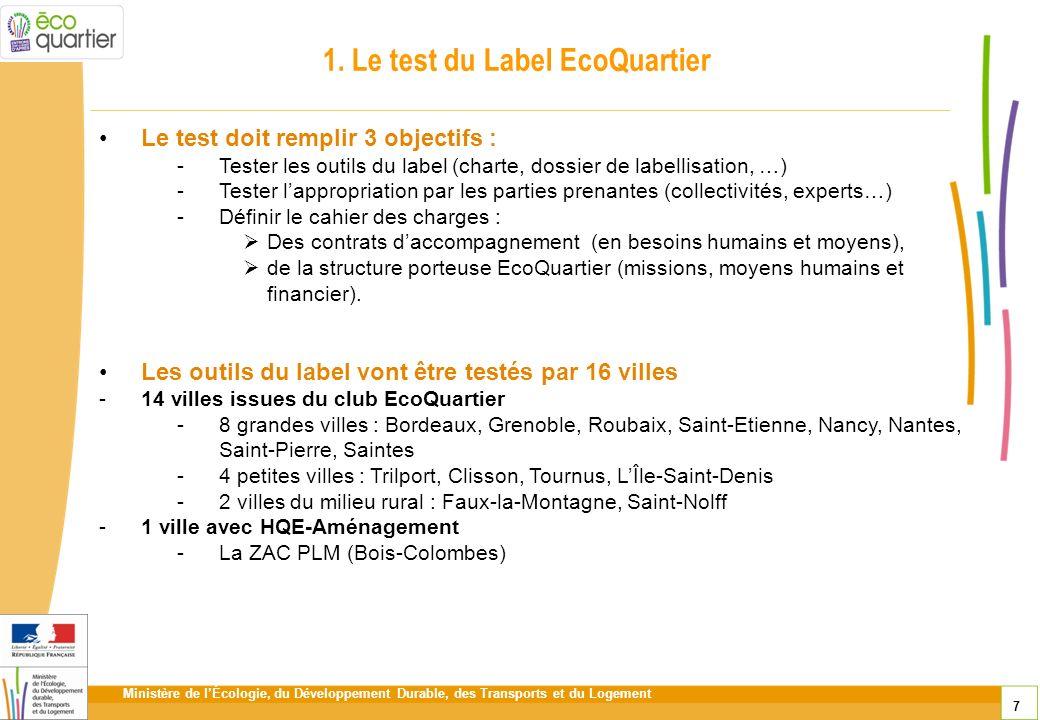 Ministère de lÉcologie, du Développement Durable, des Transports et du Logement 7 1. Le test du Label EcoQuartier Le test doit remplir 3 objectifs : -