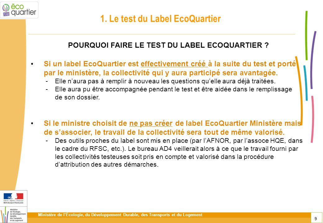 Ministère de lÉcologie, du Développement Durable, des Transports et du Logement 9 1. Le test du Label EcoQuartier Si un label EcoQuartier est effectiv