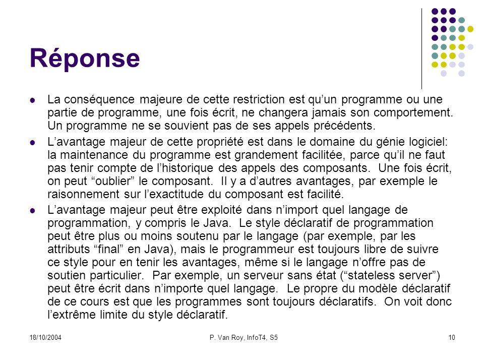 18/10/2004P. Van Roy, InfoT4, S510 Réponse La conséquence majeure de cette restriction est quun programme ou une partie de programme, une fois écrit,