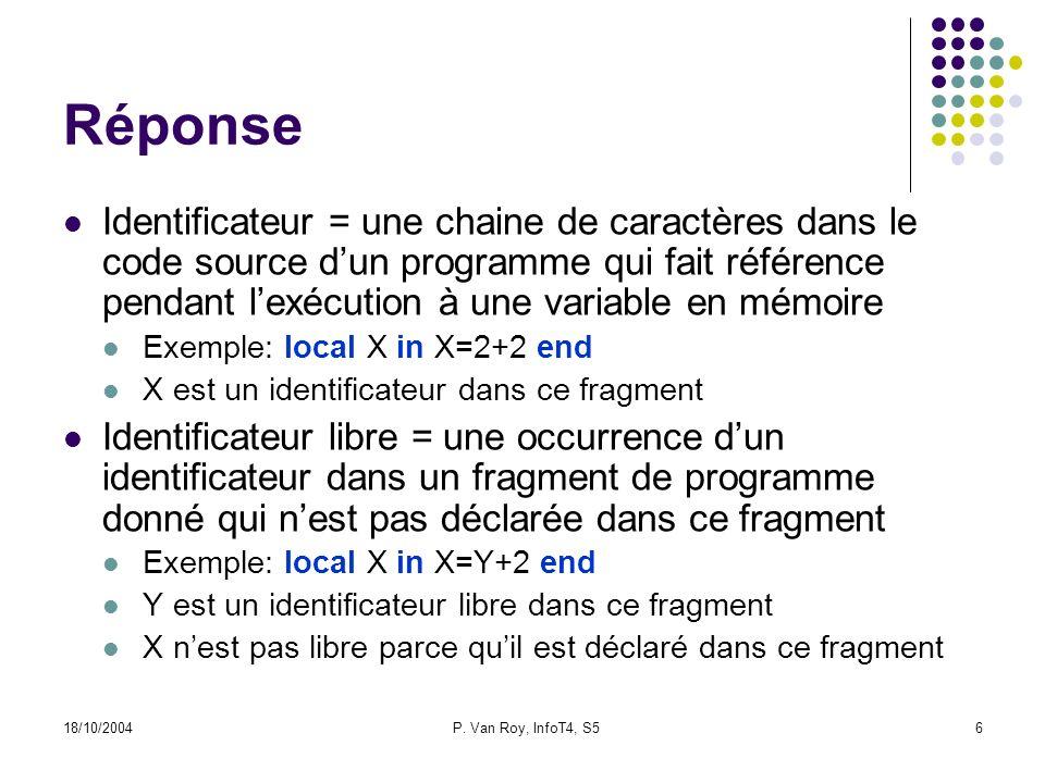 18/10/2004P. Van Roy, InfoT4, S56 Réponse Identificateur = une chaine de caractères dans le code source dun programme qui fait référence pendant lexéc