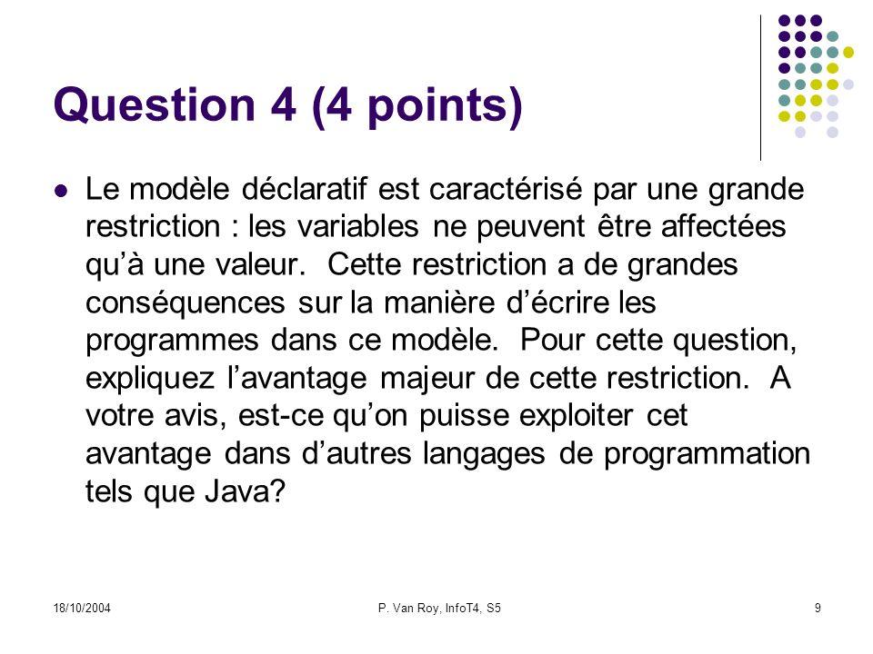 18/10/2004P. Van Roy, InfoT4, S59 Question 4 (4 points) Le modèle déclaratif est caractérisé par une grande restriction : les variables ne peuvent êtr