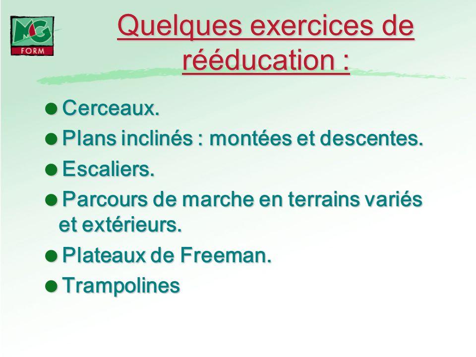 Quelques exercices de rééducation : Cerceaux. Cerceaux. Plans inclinés : montées et descentes. Plans inclinés : montées et descentes. Escaliers. Escal