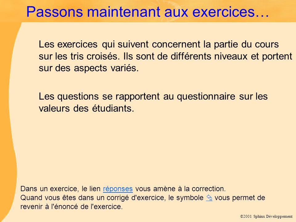 ©2001 Sphinx Développement Passons maintenant aux exercices… Les exercices qui suivent concernent la partie du cours sur les tris croisés. Ils sont de