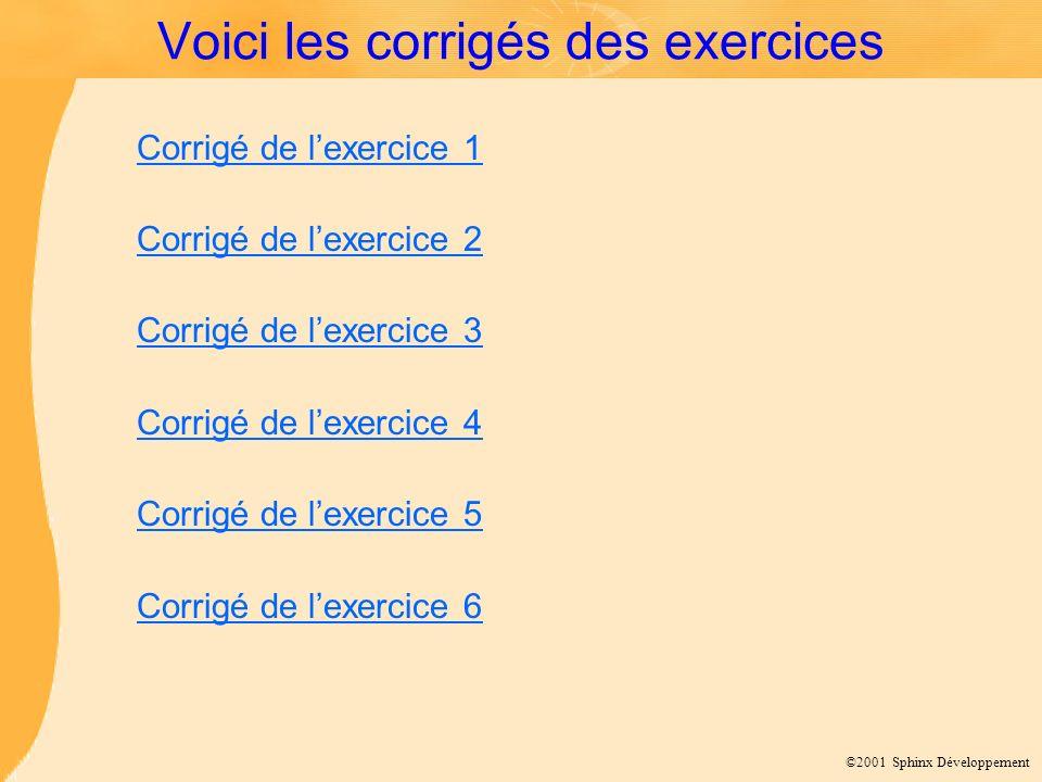 ©2001 Sphinx Développement Voici les corrigés des exercices Corrigé de lexercice 1 Corrigé de lexercice 2 Corrigé de lexercice 3 Corrigé de lexercice
