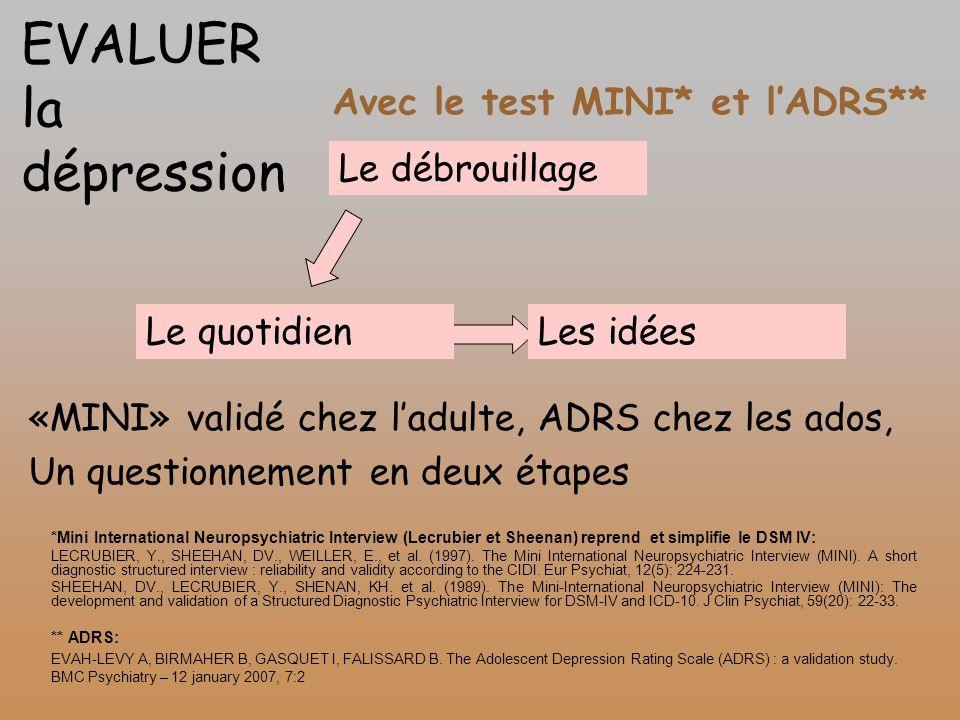 Avec le test MINI* et lADRS** *Mini International Neuropsychiatric Interview (Lecrubier et Sheenan) reprend et simplifie le DSM IV: LECRUBIER, Y., SHE
