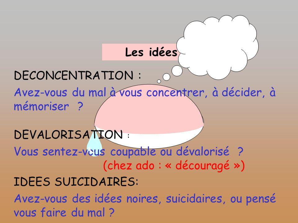 Les idées DECONCENTRATION : Avez-vous du mal à vous concentrer, à décider, à mémoriser ? DEVALORISATION : Vous sentez-vous coupable ou dévalorisé ? (c