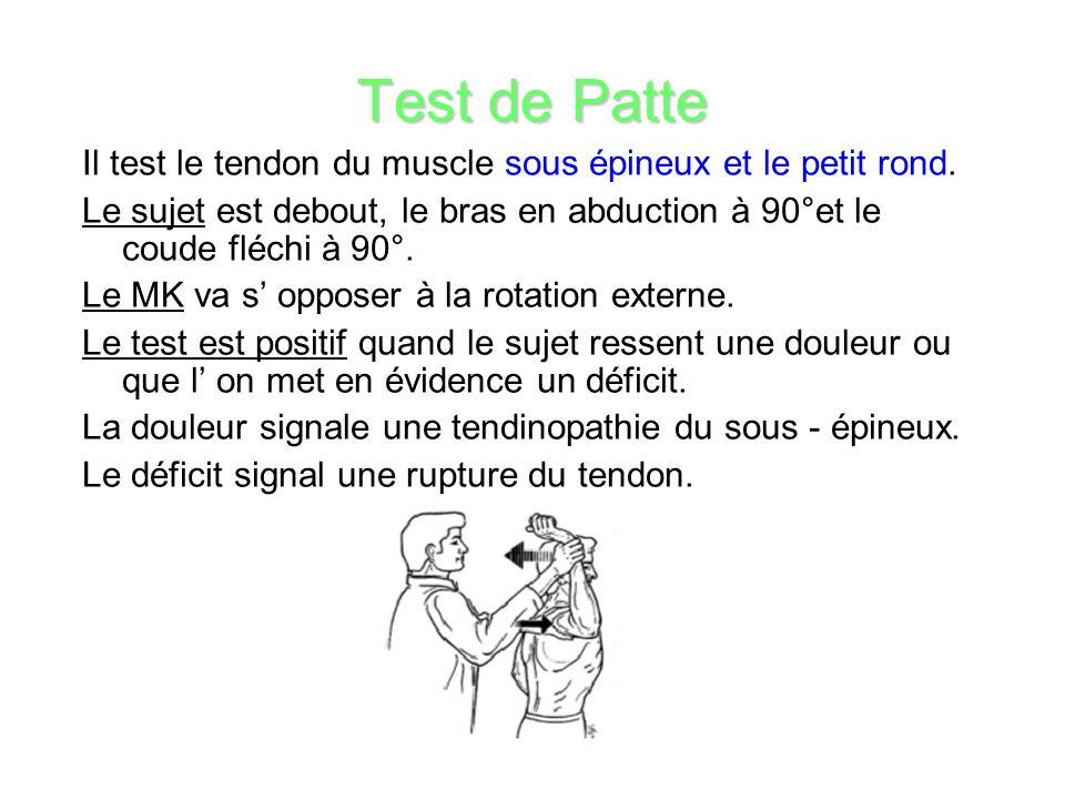 Test de Patte Il test le tendon du muscle sous épineux et le petit rond.