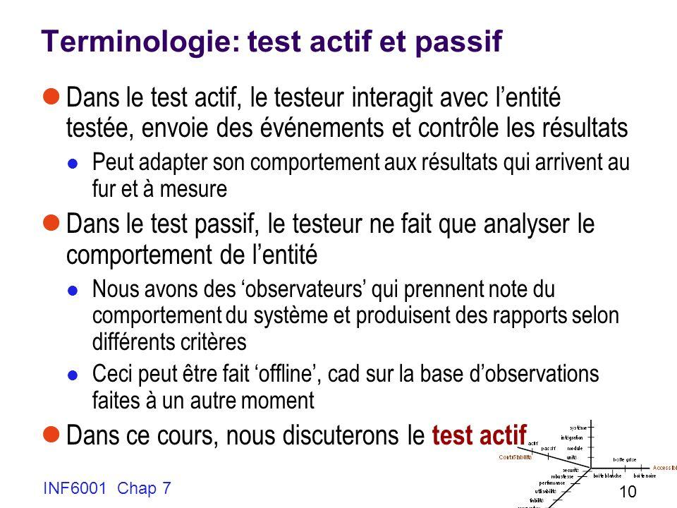 INF6001 Chap 7 10 Terminologie: test actif et passif Dans le test actif, le testeur interagit avec lentité testée, envoie des événements et contrôle les résultats Peut adapter son comportement aux résultats qui arrivent au fur et à mesure Dans le test passif, le testeur ne fait que analyser le comportement de lentité Nous avons des observateurs qui prennent note du comportement du système et produisent des rapports selon différents critères Ceci peut être fait offline, cad sur la base dobservations faites à un autre moment Dans ce cours, nous discuterons le test actif