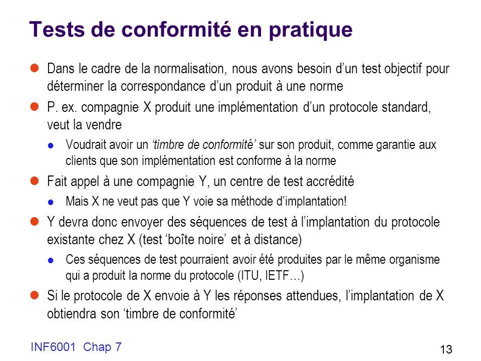 INF6001 Chap 7 13 Tests de conformité en pratique Dans le cadre de la normalisation, nous avons besoin dun test objectif pour déterminer la correspondance dun produit à une norme P.