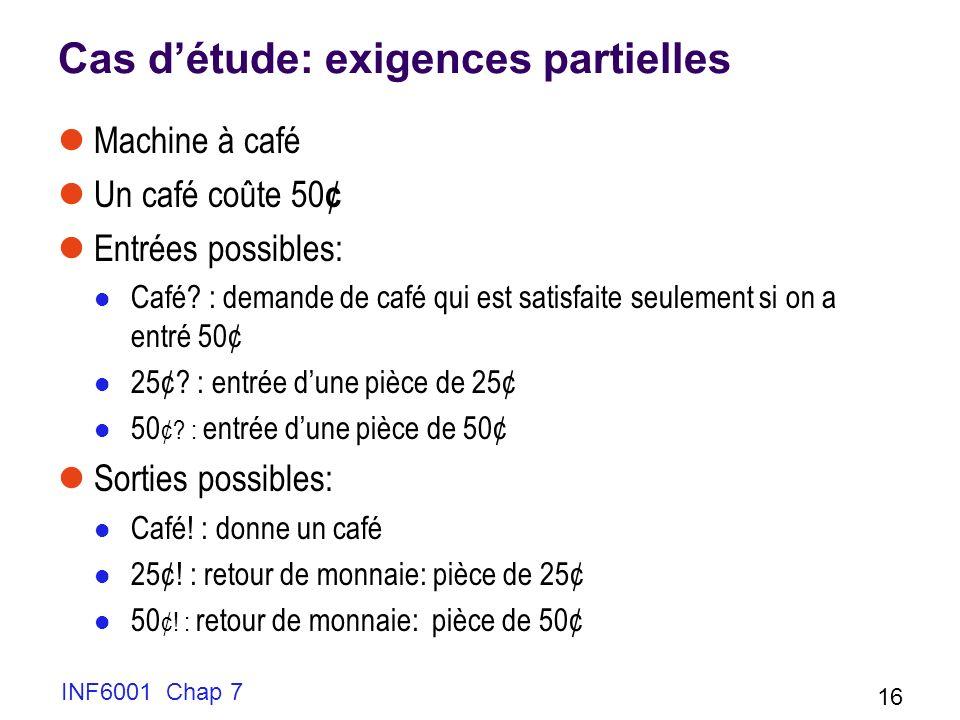 Cas détude: exigences partielles Machine à café Un café coûte 50 ¢ Entrées possibles: Café.
