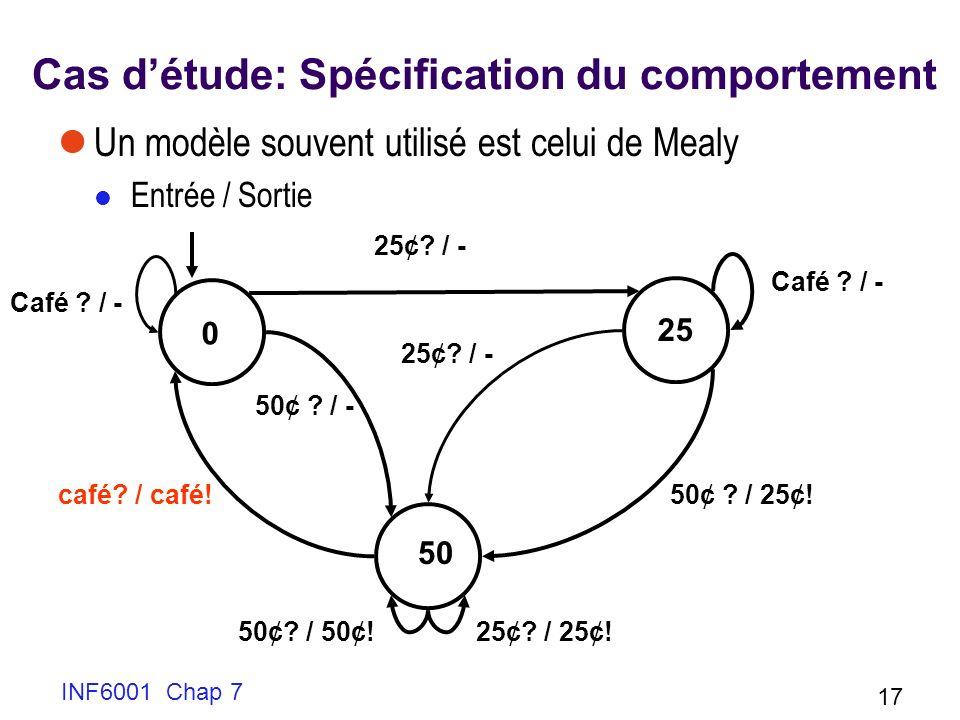 INF6001 Chap 7 17 Cas détude: Spécification du comportement Un modèle souvent utilisé est celui de Mealy Entrée / Sortie 0 25 50 25¢.