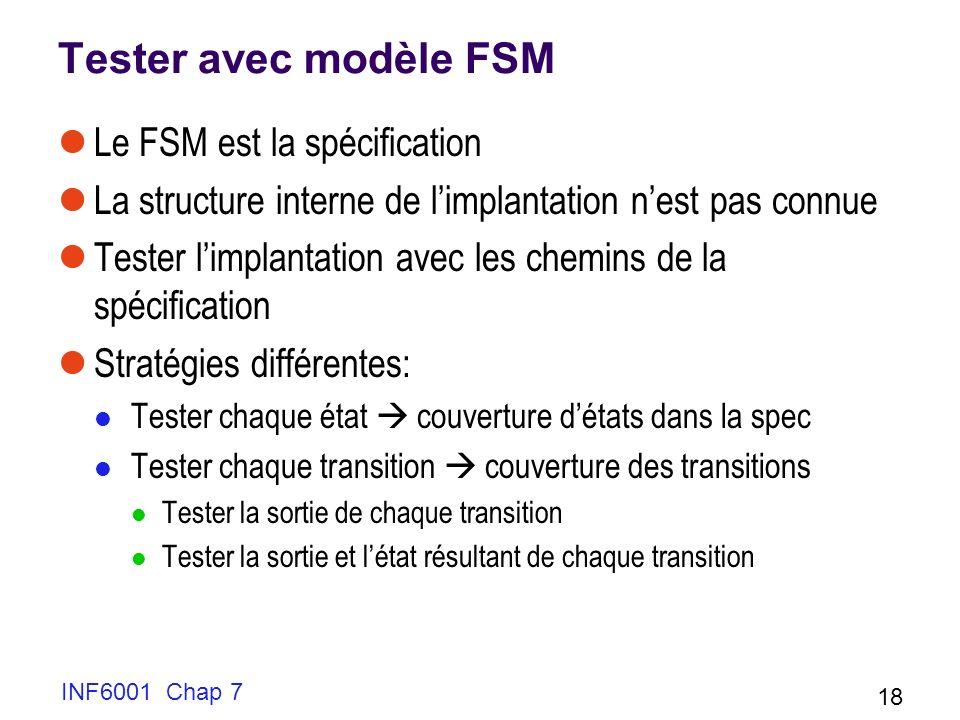 INF6001 Chap 7 18 Tester avec modèle FSM Le FSM est la spécification La structure interne de limplantation nest pas connue Tester limplantation avec les chemins de la spécification Stratégies différentes: Tester chaque état couverture détats dans la spec Tester chaque transition couverture des transitions Tester la sortie de chaque transition Tester la sortie et létat résultant de chaque transition