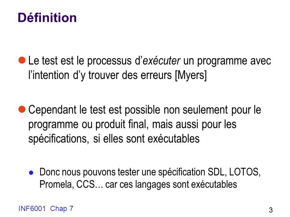 INF6001 Chap 7 3 Définition Le test est le processus d exécuter un programme avec lintention dy trouver des erreurs [Myers] Cependant le test est possible non seulement pour le programme ou produit final, mais aussi pour les spécifications, si elles sont exécutables Donc nous pouvons tester une spécification SDL, LOTOS, Promela, CCS… car ces langages sont exécutables