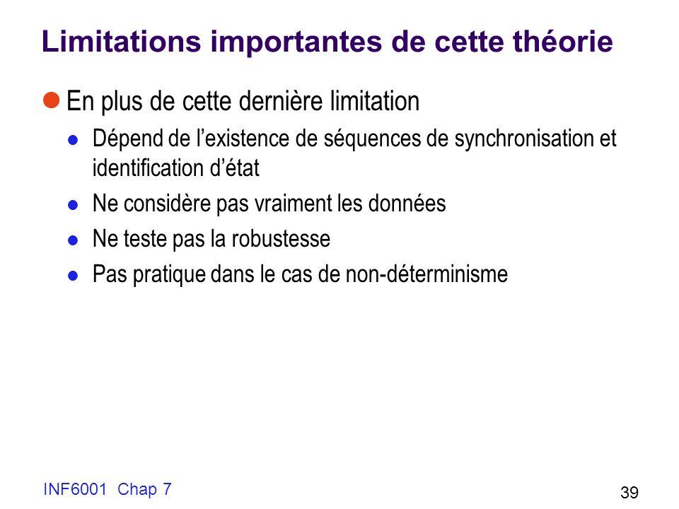 INF6001 Chap 7 39 Limitations importantes de cette théorie En plus de cette dernière limitation Dépend de lexistence de séquences de synchronisation et identification détat Ne considère pas vraiment les données Ne teste pas la robustesse Pas pratique dans le cas de non-déterminisme