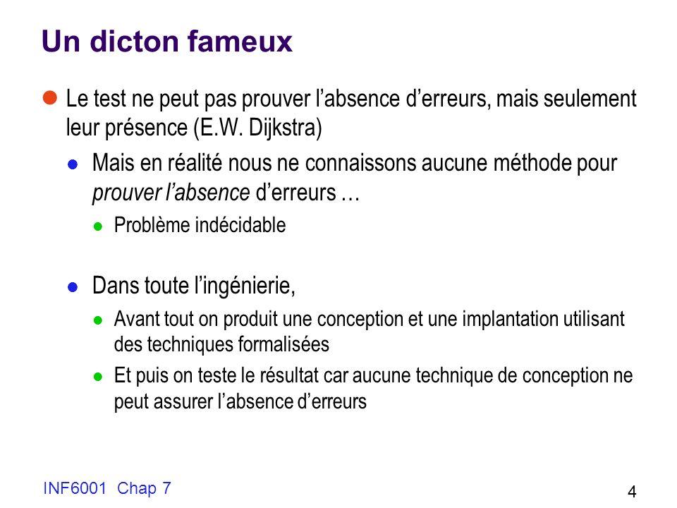 INF6001 Chap 7 4 Un dicton fameux Le test ne peut pas prouver labsence derreurs, mais seulement leur présence (E.W.