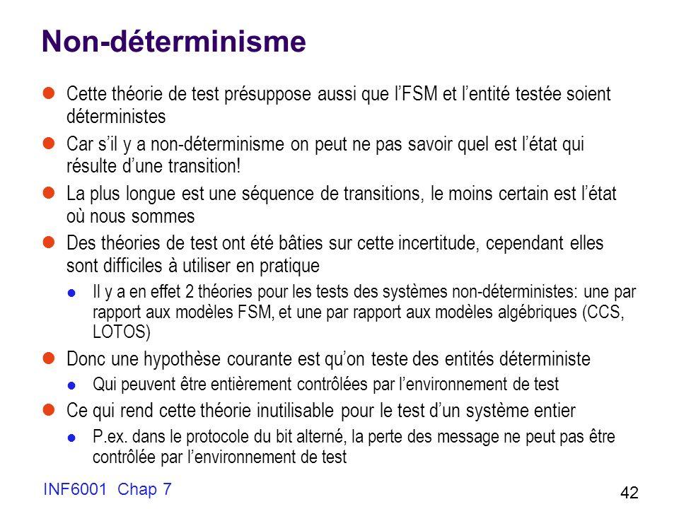 INF6001 Chap 7 42 Non-déterminisme Cette théorie de test présuppose aussi que lFSM et lentité testée soient déterministes Car sil y a non-déterminisme on peut ne pas savoir quel est létat qui résulte dune transition.