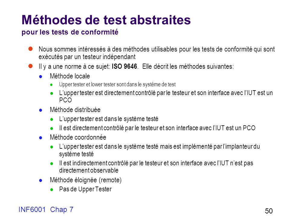 INF6001 Chap 7 50 Méthodes de test abstraites pour les tests de conformité Nous sommes intéressés à des méthodes utilisables pour les tests de conformité qui sont exécutés par un testeur indépendant Il y a une norme à ce sujet: ISO 9646.
