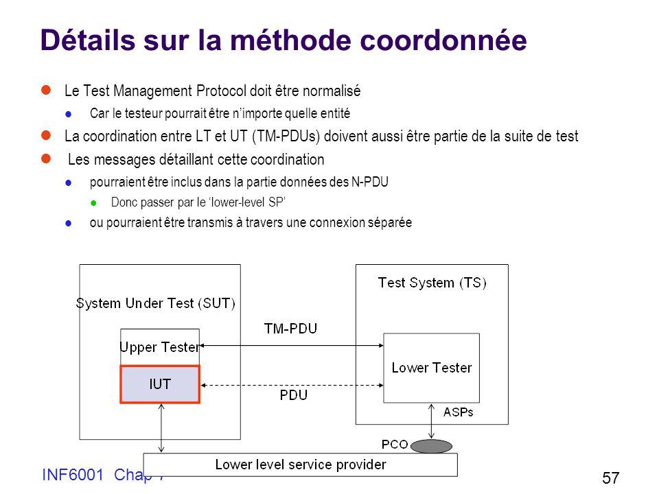 INF6001 Chap 7 57 Détails sur la méthode coordonnée Le Test Management Protocol doit être normalisé Car le testeur pourrait être nimporte quelle entité La coordination entre LT et UT (TM-PDUs) doivent aussi être partie de la suite de test Les messages détaillant cette coordination pourraient être inclus dans la partie données des N-PDU Donc passer par le lower-level SP ou pourraient être transmis à travers une connexion séparée