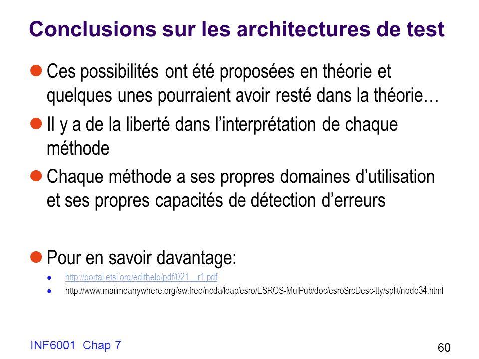 INF6001 Chap 7 60 Conclusions sur les architectures de test Ces possibilités ont été proposées en théorie et quelques unes pourraient avoir resté dans la théorie… Il y a de la liberté dans linterprétation de chaque méthode Chaque méthode a ses propres domaines dutilisation et ses propres capacités de détection derreurs Pour en savoir davantage: http://portal.etsi.org/edithelp/pdf/021__r1.pdf http://www.mailmeanywhere.org/sw.free/neda/leap/esro/ESROS-MulPub/doc/esroSrcDesc-tty/split/node34.html