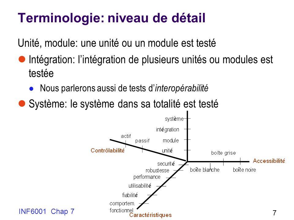 INF6001 Chap 7 7 Terminologie: niveau de détail Unité, module: une unité ou un module est testé Intégration: lintégration de plusieurs unités ou modules est testée Nous parlerons aussi de tests d interopérabilité Système: le système dans sa totalité est testé