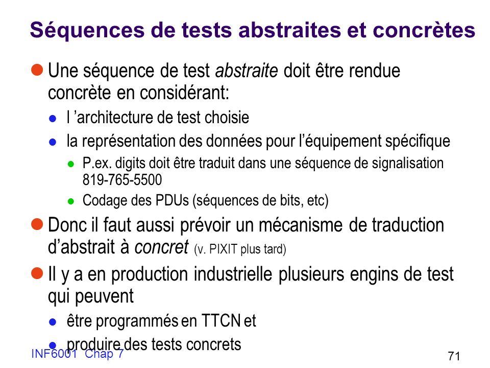 INF6001 Chap 7 71 Séquences de tests abstraites et concrètes Une séquence de test abstraite doit être rendue concrète en considérant: l architecture de test choisie la représentation des données pour léquipement spécifique P.ex.