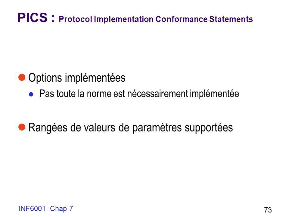 INF6001 Chap 7 73 PICS : Protocol Implementation Conformance Statements Options implémentées Pas toute la norme est nécessairement implémentée Rangées de valeurs de paramètres supportées