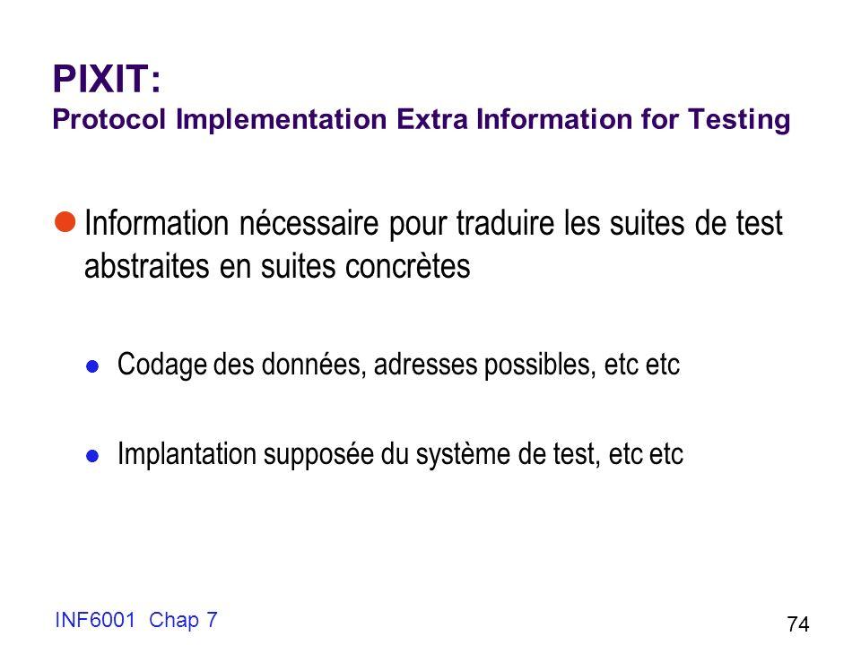 INF6001 Chap 7 74 PIXIT: Protocol Implementation Extra Information for Testing Information nécessaire pour traduire les suites de test abstraites en suites concrètes Codage des données, adresses possibles, etc etc Implantation supposée du système de test, etc etc