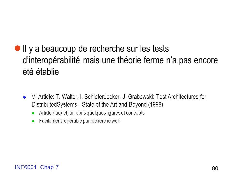 Il y a beaucoup de recherche sur les tests dinteropérabilité mais une théorie ferme na pas encore été établie V.