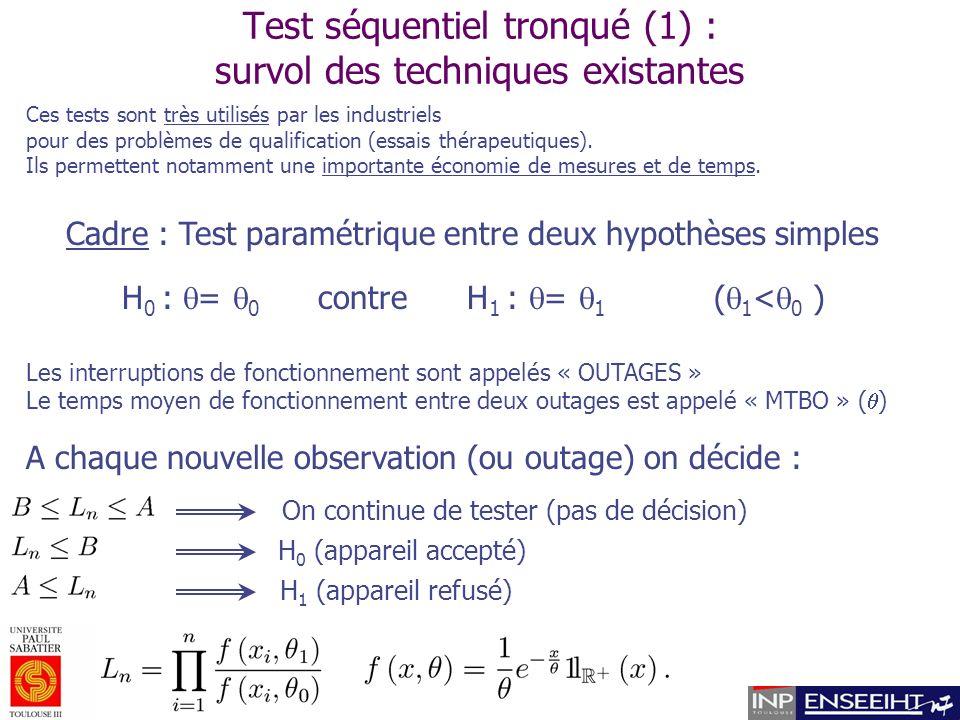 Test séquentiel tronqué (1) : survol des techniques existantes Ces tests sont très utilisés par les industriels pour des problèmes de qualification (essais thérapeutiques).