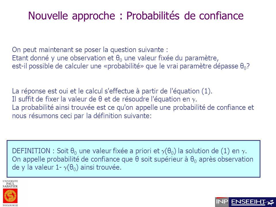 Nouvelle approche : Probabilités de confiance On peut maintenant se poser la question suivante : Etant donné y une observation et θ 0 une valeur fixée du paramètre, est-il possible de calculer une «probabilité» que le vrai paramètre dépasse θ 0 .