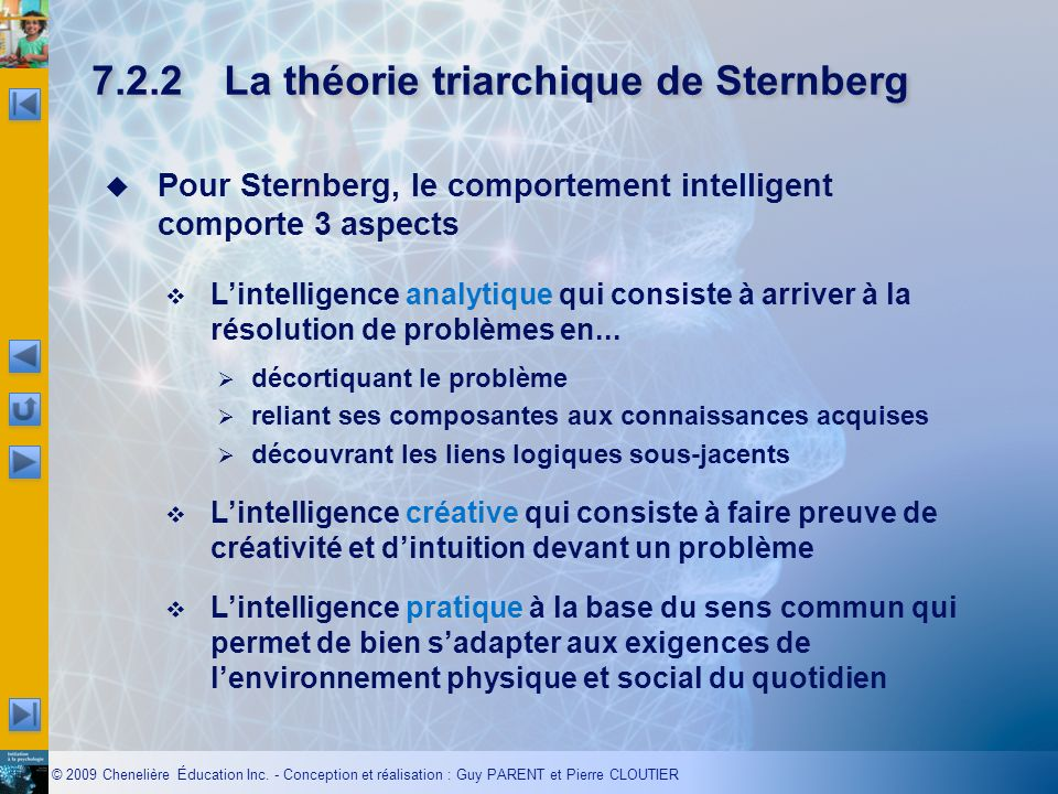 © 2009 Chenelière Éducation Inc. - Conception et réalisation : Guy PARENT et Pierre CLOUTIER Pour Sternberg, le comportement intelligent comporte 3 as