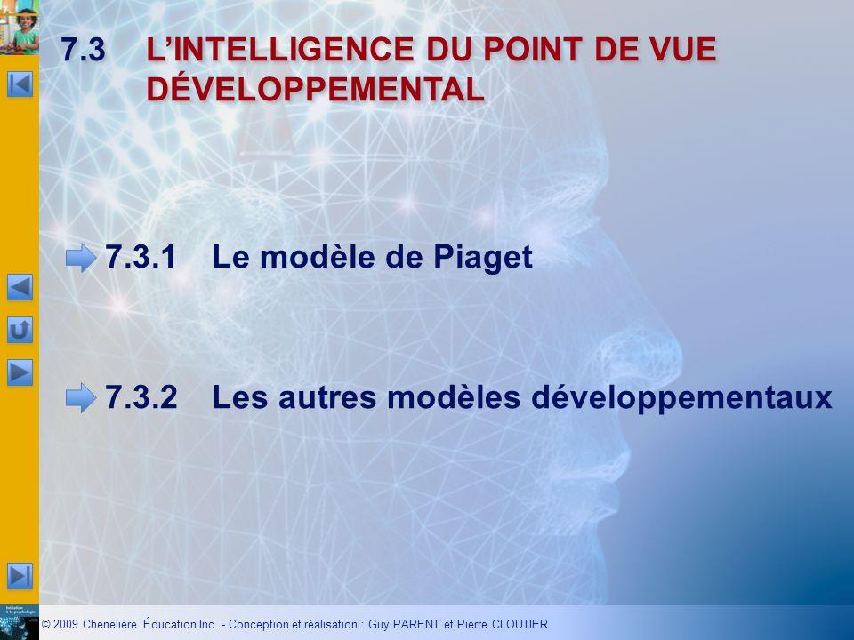 © 2009 Chenelière Éducation Inc. - Conception et réalisation : Guy PARENT et Pierre CLOUTIER 7.3LINTELLIGENCE DU POINT DE VUE DÉVELOPPEMENTAL 7.3.1Le