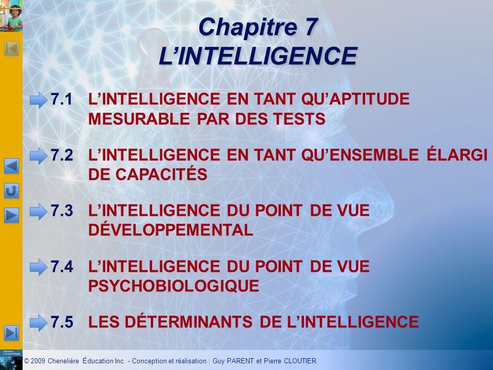 © 2009 Chenelière Éducation Inc. - Conception et réalisation : Guy PARENT et Pierre CLOUTIER Chapitre 7 LINTELLIGENCE 7.1LINTELLIGENCE EN TANT QUAPTIT