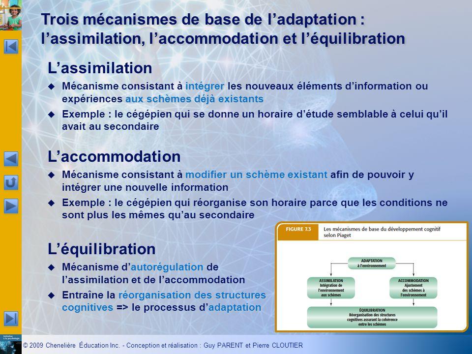 © 2009 Chenelière Éducation Inc. - Conception et réalisation : Guy PARENT et Pierre CLOUTIER Trois mécanismes de base de ladaptation : lassimilation,