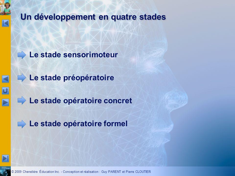 © 2009 Chenelière Éducation Inc. - Conception et réalisation : Guy PARENT et Pierre CLOUTIER Un développement en quatre stades Le stade sensorimoteur