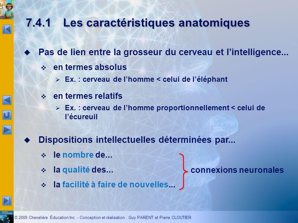 © 2009 Chenelière Éducation Inc. - Conception et réalisation : Guy PARENT et Pierre CLOUTIER 7.4.1Les caractéristiques anatomiques Pas de lien entre l