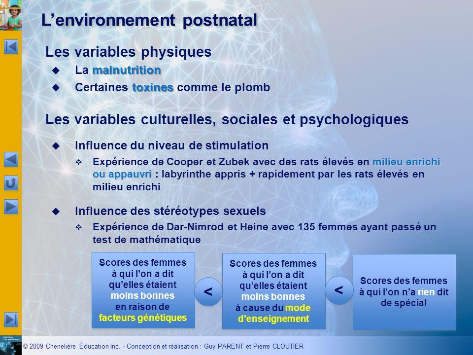 © 2009 Chenelière Éducation Inc. - Conception et réalisation : Guy PARENT et Pierre CLOUTIER Lenvironnement postnatal Les variables physiques malnutri