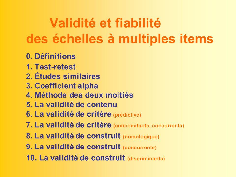 Validité et fiabilité des échelles à multiples items 0. Définitions 1. Test-retest 2. Études similaires 3. Coefficient alpha 4. Méthode des deux moiti