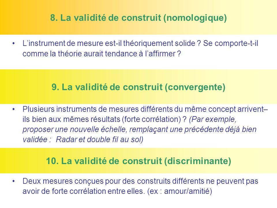 8. La validité de construit (nomologique) Linstrument de mesure est-il théoriquement solide ? Se comporte-t-il comme la théorie aurait tendance à laff