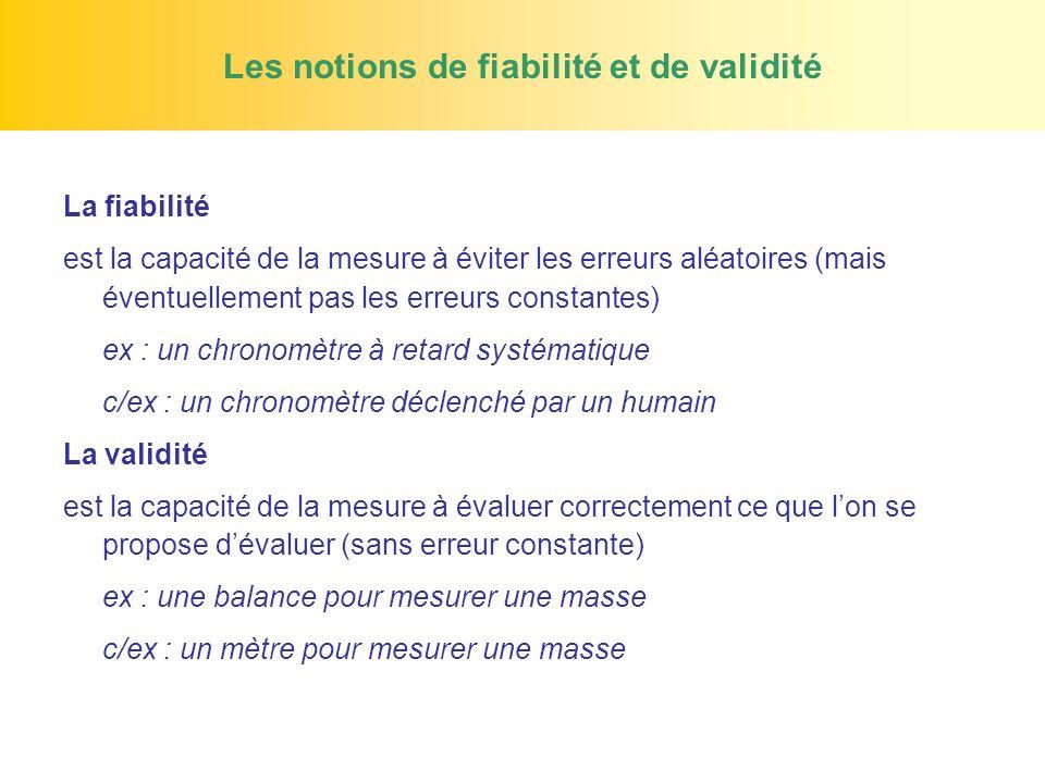 Les notions de fiabilité et de validité La fiabilité est la capacité de la mesure à éviter les erreurs aléatoires (mais éventuellement pas les erreurs