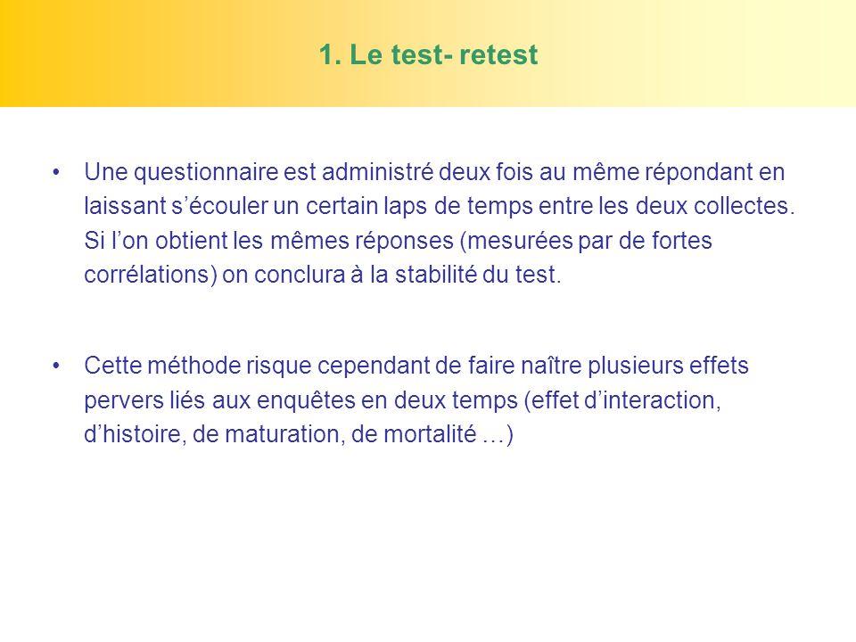 1. Le test- retest Une questionnaire est administré deux fois au même répondant en laissant sécouler un certain laps de temps entre les deux collectes