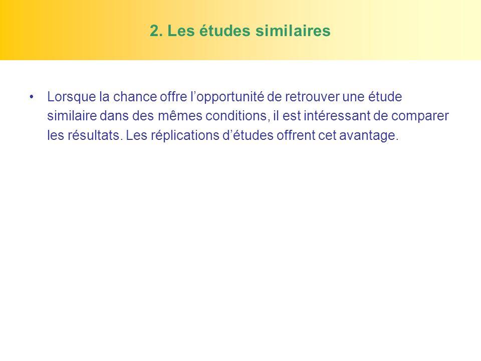 2. Les études similaires Lorsque la chance offre lopportunité de retrouver une étude similaire dans des mêmes conditions, il est intéressant de compar