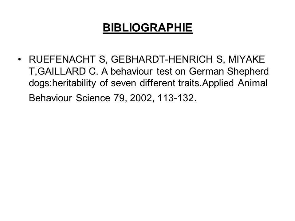 BIBLIOGRAPHIE RUEFENACHT S, GEBHARDT-HENRICH S, MIYAKE T,GAILLARD C. A behaviour test on German Shepherd dogs:heritability of seven different traits.A