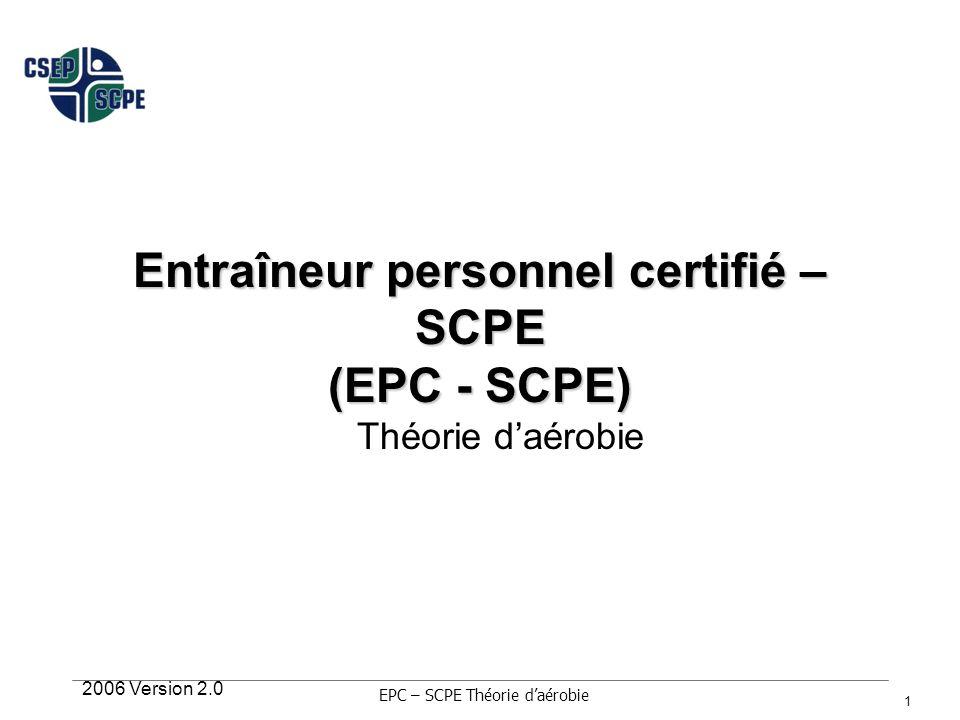 2006 Version 2.0 12 Protocoles dexercices sub-maximaux mCAFT Test Ebbeling sur tapis roulant Test du YMCA sur ergocycle Test de marche Rockport pendant 1 mille EPC – SCPE Théorie daérobie