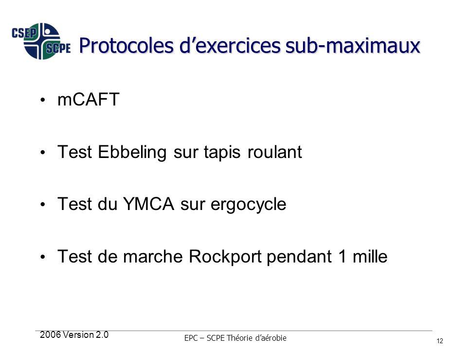 2006 Version 2.0 12 Protocoles dexercices sub-maximaux mCAFT Test Ebbeling sur tapis roulant Test du YMCA sur ergocycle Test de marche Rockport pendan