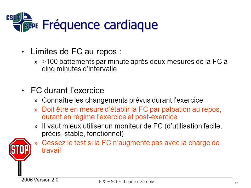 2006 Version 2.0 15 Fréquence cardiaque Limites de FC au repos : »>100 battements par minute après deux mesures de la FC à cinq minutes dintervalle FC
