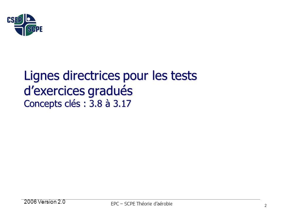 2006 Version 2.0 13 Procédures générales Position du client Réchauffement (5 minutes à faible intensité) »Équivaut à environ 20 à 30 % de la réserve de fréquence cardiaque (RFC) ou 35 à 45 % de la fréquence cardiaque maximale prédite par lâge Surveillez la FC, lEPE, les symptômes du client avant, durant et après lexercice (1, 3 et 5 min) »La description de la plupart des protocoles ne comprend pas la recommandation de surveillance post- exercice »La capacité de mesurer la tension artérielle au repos et post-exercice est une compétence critique »La capacité de mesurer la fréquence cardiaque par palpation au repos, en régime stable dexercice et post-exercice est une compétence critique »Ajout important pour lEPC-SCPE Réchauffement et récupération.